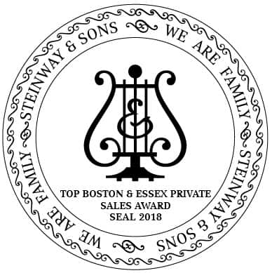 Steinway Asia Pacific Awards Steinway Gallery Singapore the ''Top Boston & Essex Private Sales Award 2018''